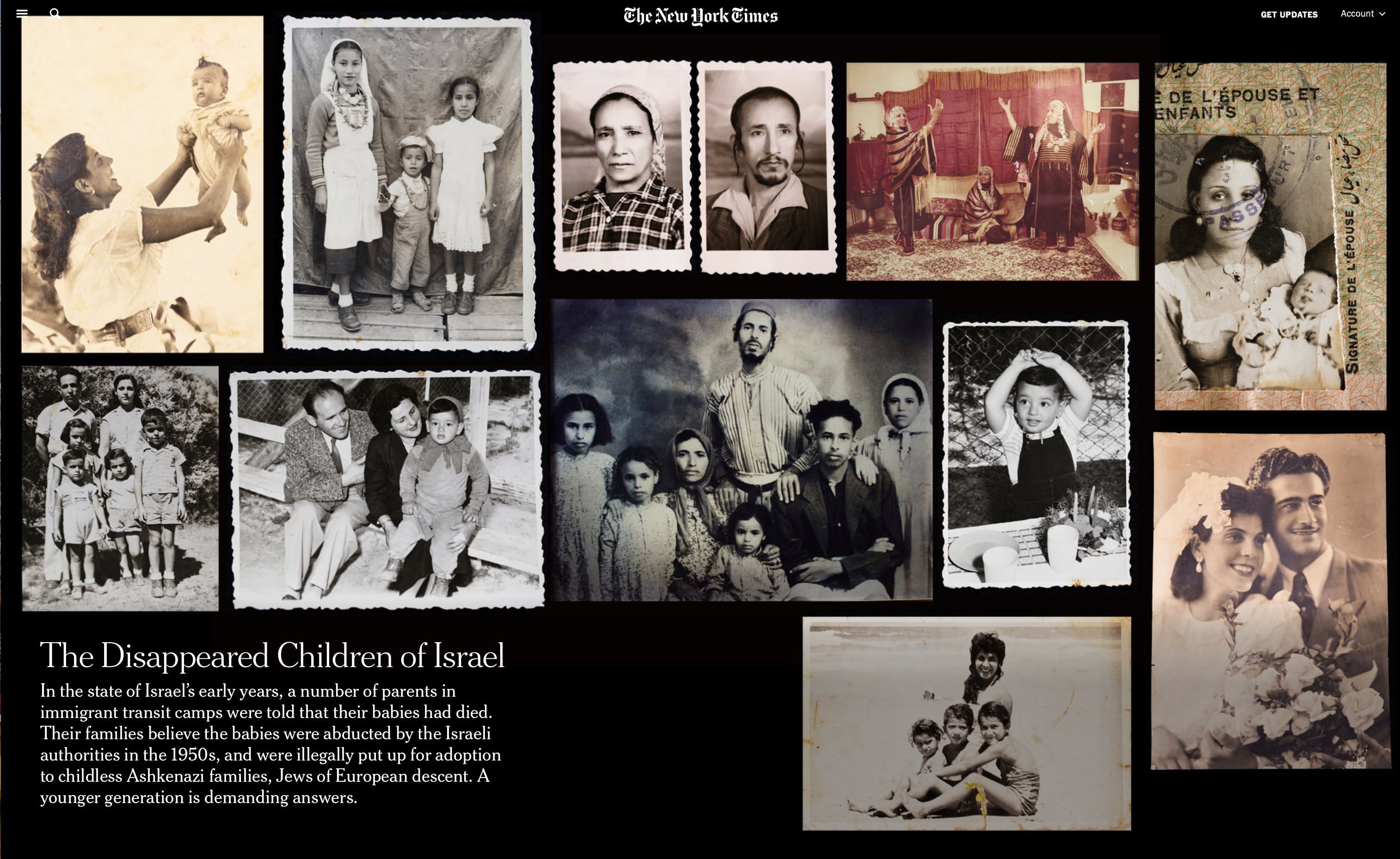 "New York Times article - ""The Disappeared Children of Israel"""